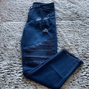 Distressed Moto Jeans with Stretch